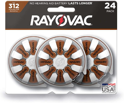 rayovac 312 size hearing aid batteries