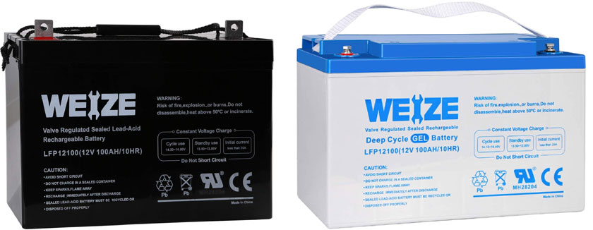 Weize 12V 100Ah Deep Cycle AGM and Gel Batteries